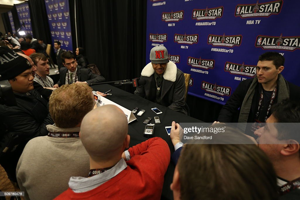 Carmelo Anthony #7 of the New York Knicks speaks to the media during media availability as part of 2016 NBA All-Star Weekend at the Sheraton Centre Toronto Hotel on February 12, 2016 in Toronto, Ontario, Canada.