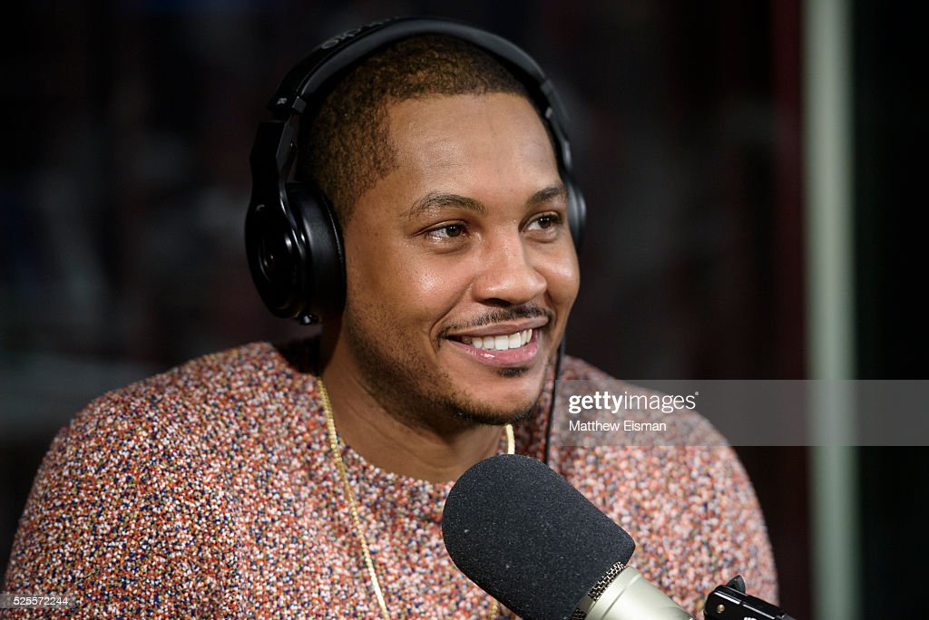 <a gi-track='captionPersonalityLinkClicked' href=/galleries/search?phrase=Carmelo+Anthony&family=editorial&specificpeople=201494 ng-click='$event.stopPropagation()'>Carmelo Anthony</a> of the New York Knicks visits 'Sway in the Morning' with Sway Calloway on Eminem's Shade 45 at SiriusXM Studio on April 28, 2016 in New York City.