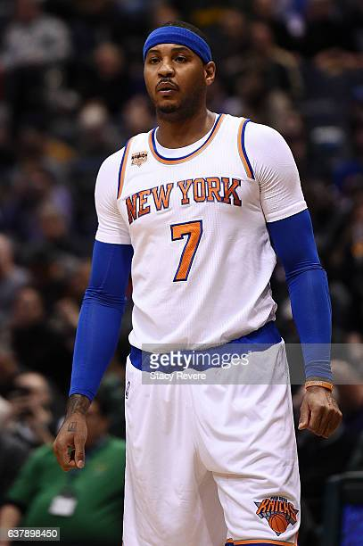 Carmelo Anthony of the New York Knicks waits for a free throw during a game against the Milwaukee Bucks at BMO Harris Bradley Center on January 6...