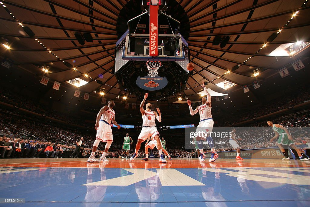 <a gi-track='captionPersonalityLinkClicked' href=/galleries/search?phrase=Carmelo+Anthony&family=editorial&specificpeople=201494 ng-click='$event.stopPropagation()'>Carmelo Anthony</a> #7 of the New York Knicks waits for the rebound against the Boston Celtics in Game Two of the Eastern Conference Quarterfinals during the 2013 NBA Playoffs on April 23, 2013 at Madison Square Garden in New York City.