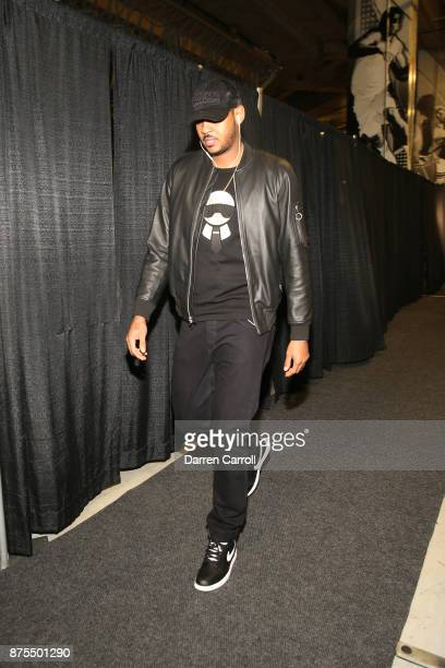 Carmelo Anthony of the Oklahoma City Thunder arrives to the stadium on November 17 2017 at the ATT Center in San Antonio Texas NOTE TO USER User...