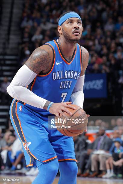 Carmelo Anthony of the Oklahoma City Thunder attempts a freethrow shot against the Sacramento Kings on November 7 2017 at Golden 1 Center in...
