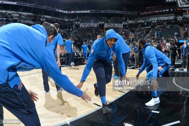 Carmelo Anthony of the Oklahoma City Thunder before the game against the San Antonio Spurs on November 17 2017 at the ATT Center in San Antonio Texas...