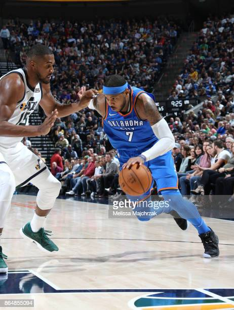 Carmelo Anthony of the Oklahoma City Thunder drives to the basket against the Utah Jazz during the game on October 21 2017 at vivintSmartHome Arena...