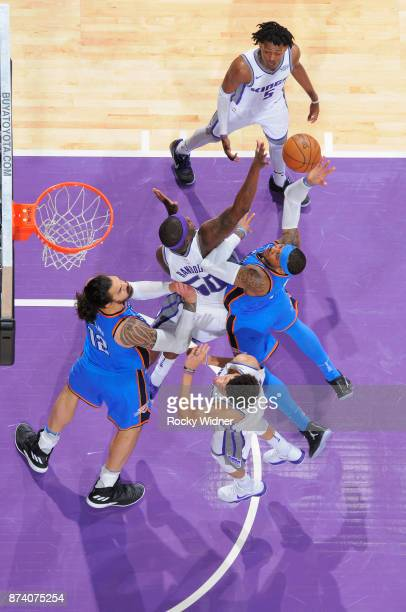 Carmelo Anthony of the Oklahoma City Thunder goes up for the shot against the Sacramento Kings on November 7 2017 at Golden 1 Center in Sacramento...