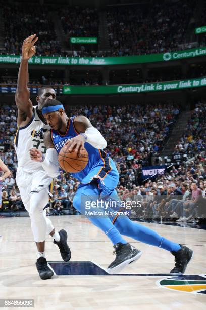 Carmelo Anthony of the Oklahoma City Thunder handles the ball against the Utah Jazz during the game on October 21 2017 at vivintSmartHome Arena in...