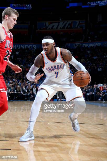 Carmelo Anthony of the Oklahoma City Thunder handles the ball during the game against the Chicago Bulls on November 15 2017 at Chesapeake Energy...