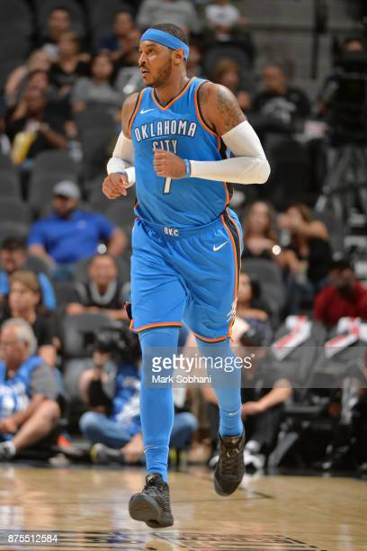Carmelo Anthony of the Oklahoma City Thunder hustles down the court against the San Antonio Spurs on November 17 2017 at the ATT Center in San...