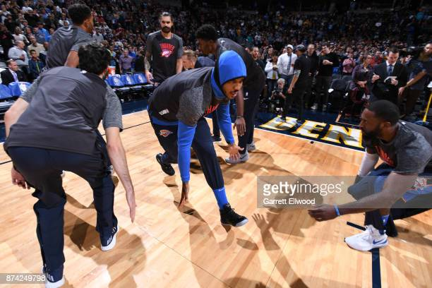 Carmelo Anthony of the Oklahoma City Thunder is introduced before the game against the Denver Nuggets on November 9 2017 at the Pepsi Center in...