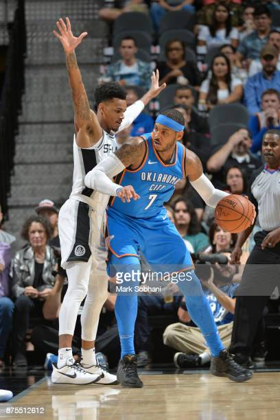 Carmelo Anthony of the Oklahoma City Thunder jocks for a position against the San Antonio Spurs on November 17 2017 at the ATT Center in San Antonio...