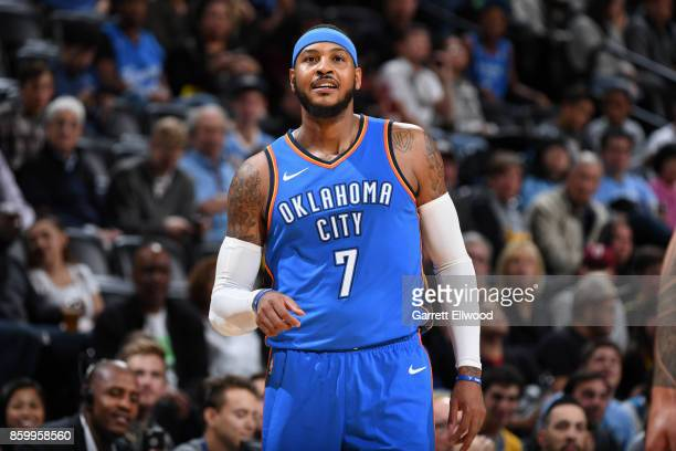 Carmelo Anthony of the Oklahoma City Thunder looks on during the game against the Denver Nuggets on October 10 2017 at the Pepsi Center in Denver...
