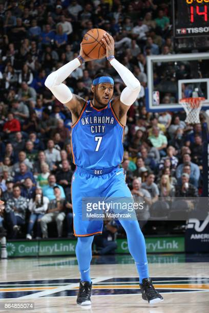 Carmelo Anthony of the Oklahoma City Thunder passes the ball against the Utah Jazz during the game on October 21 2017 at vivintSmartHome Arena in...