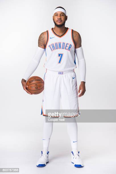 Carmelo Anthony of the Oklahoma City Thunder poses for a photo during media day at Chesapeake Energy Arena on September 25 2017 in Oklahoma City...