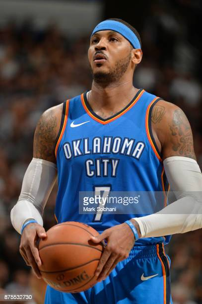 Carmelo Anthony of the Oklahoma City Thunder prepares to shoot a free throw against the San Antonio Spurs on November 17 2017 at the ATT Center in...