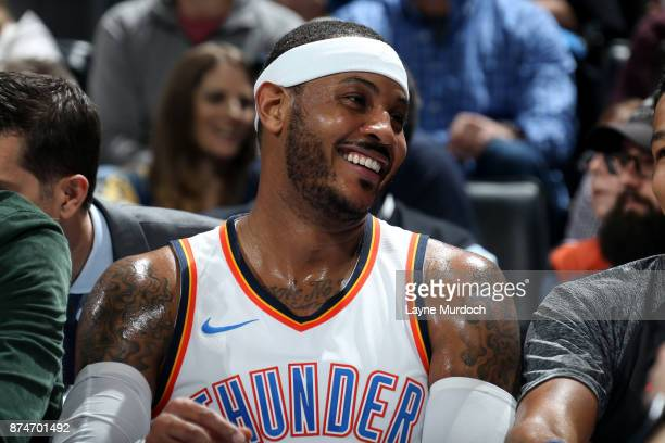 Carmelo Anthony of the Oklahoma City Thunder reacts during the game against the Chicago Bulls on November 15 2017 at Chesapeake Energy Arena in...