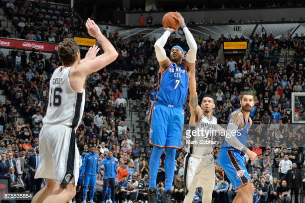 Carmelo Anthony of the Oklahoma City Thunder scores a twopointer against the San Antonio Spurs on November 17 2017 at the ATT Center in San Antonio...