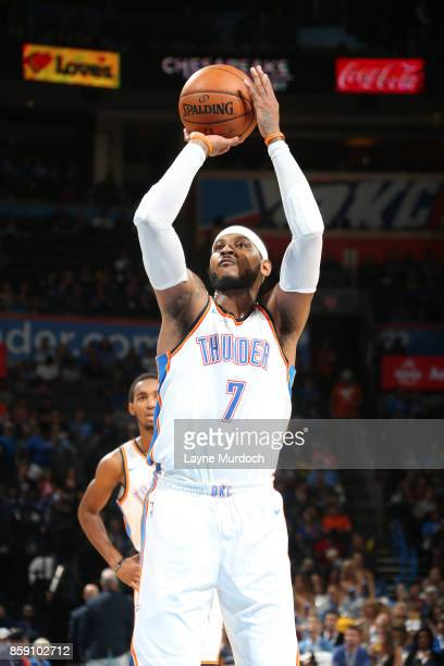 Carmelo Anthony of the Oklahoma City Thunder shoots a free throw against the Melbourne United during the preseason game on October 8 2017 at...