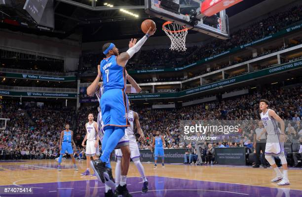 Carmelo Anthony of the Oklahoma City Thunder shoots a layup against the Sacramento Kings on November 7 2017 at Golden 1 Center in Sacramento...