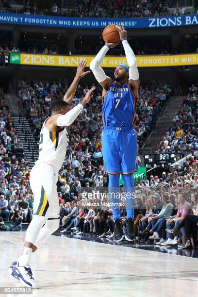 Carmelo Anthony of the Oklahoma City Thunder shoots the ball against the Utah Jazz during the game on October 21 2017 at vivintSmartHome Arena in...