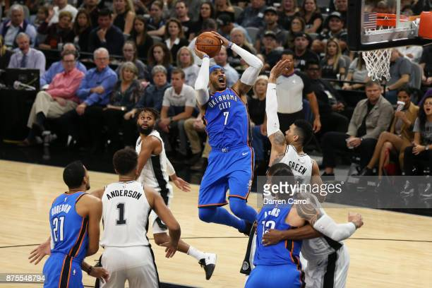 Carmelo Anthony of the Oklahoma City Thunder shoots the ball against the San Antonio Spurs on November 17 2017 at the ATT Center in San Antonio Texas...