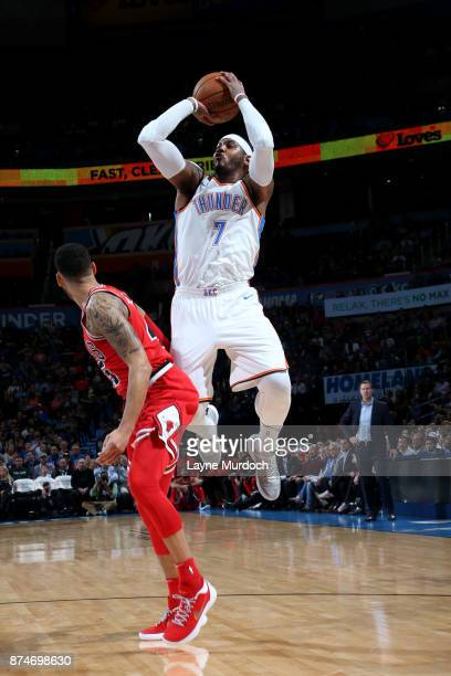 Carmelo Anthony of the Oklahoma City Thunder shoots the ball during the game against the Chicago Bulls on November 15 2017 at Chesapeake Energy Arena...