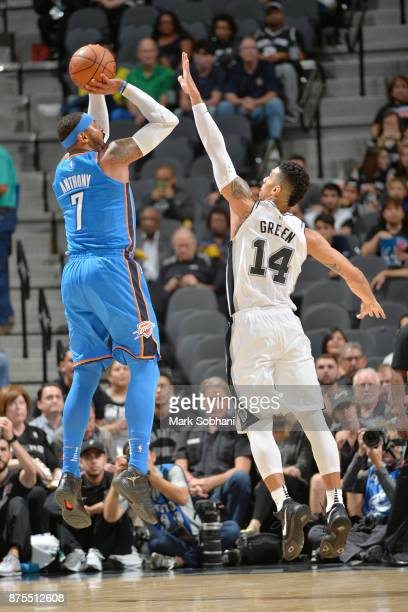 Carmelo Anthony of the Oklahoma City Thunder shoots the shot against the San Antonio Spurs on November 17 2017 at the ATT Center in San Antonio Texas...