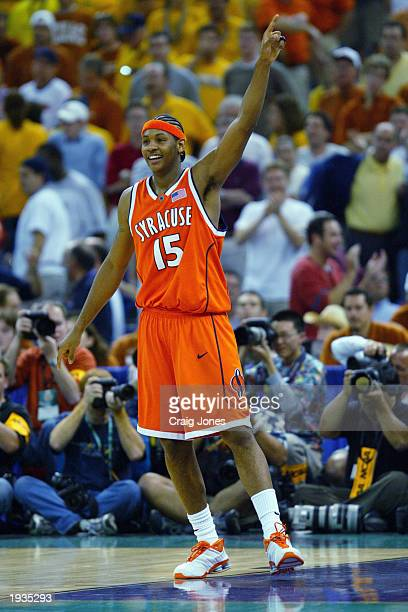 Carmelo Anthony of the Syracuse University Orangeman celebrates during the semifinal round of the NCAA Final Four Tournament against the University...