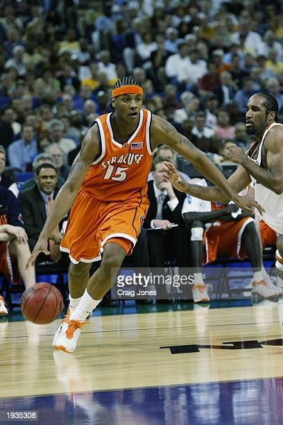 Carmelo Anthony of the Syracuse University Orangeman drives during the semifinal round of the NCAA Final Four Tournament against the University of...