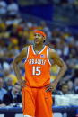 Carmelo Anthony of the Syracuse University Orangeman smiles during the semifinal round of the NCAA Final Four Tournament against the University of...