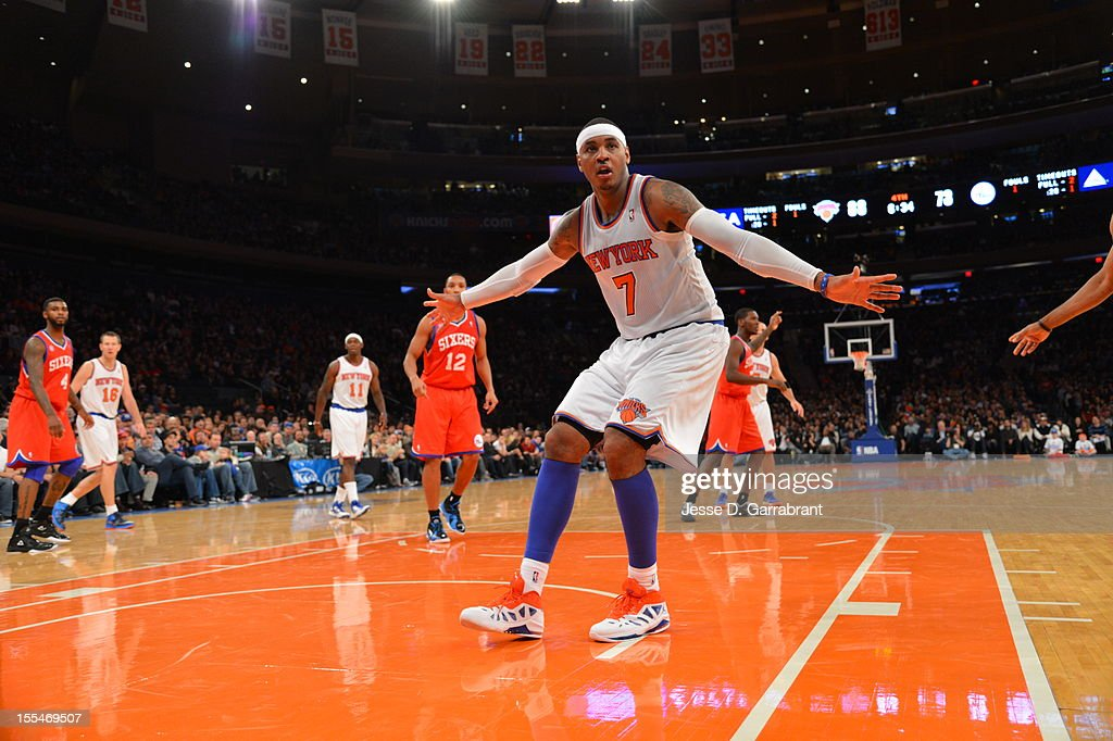 Carmelo Anthony #7 of the the New York Knicks defends the basket vs the Philadelphia 76ers on November 4, 2012 at Madison Square Garden in New York City.