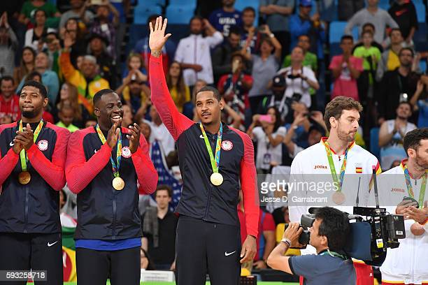 Carmelo Anthony of the USA Basketball Men's National Team celebrates after winning the Gold Medal Game against Serbia on Day 16 of the Rio 2016...
