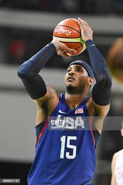 Carmelo Anthony of the USA Basketball Men's National Team shoots a free throw against China on Day 1 of the Rio 2016 Olympic Games at Carioca Arena 1...