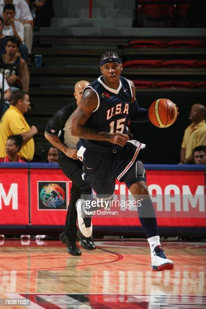 Carmelo Anthony of the USA Men's Senior National Team moves the ball up court against the Virgin Islands during the first round of the 2007 FIBA...