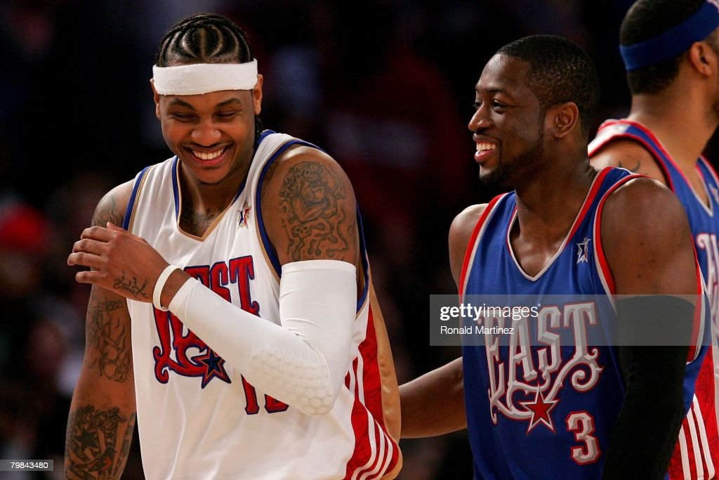 Carmelo Anthony #15 of the Western Conference and Dwyane Wade #3 of the Eastern Conference share a laugh during the 57th NBA All-Star Game, part of 2008 NBA All-Star Weekend at the New Orleans Arena on February 17, 2008 in New Orleans, Louisiana. The East won 134-128.