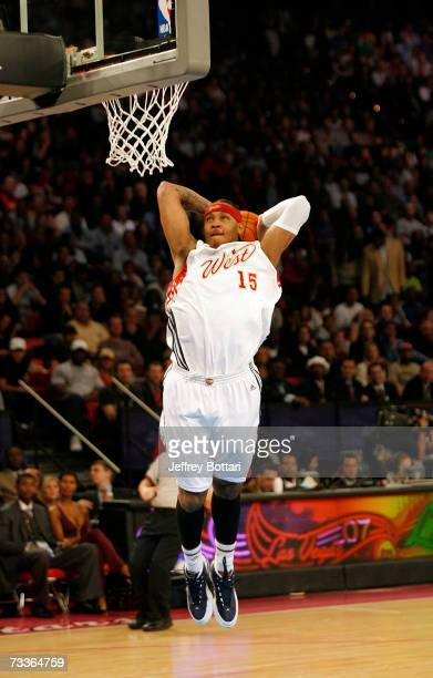 Carmelo Anthony of the Western Conference goes up for a dunk in the first half of the 2007 NBA AllStar Game at the Thomas and Mack Center February 18...