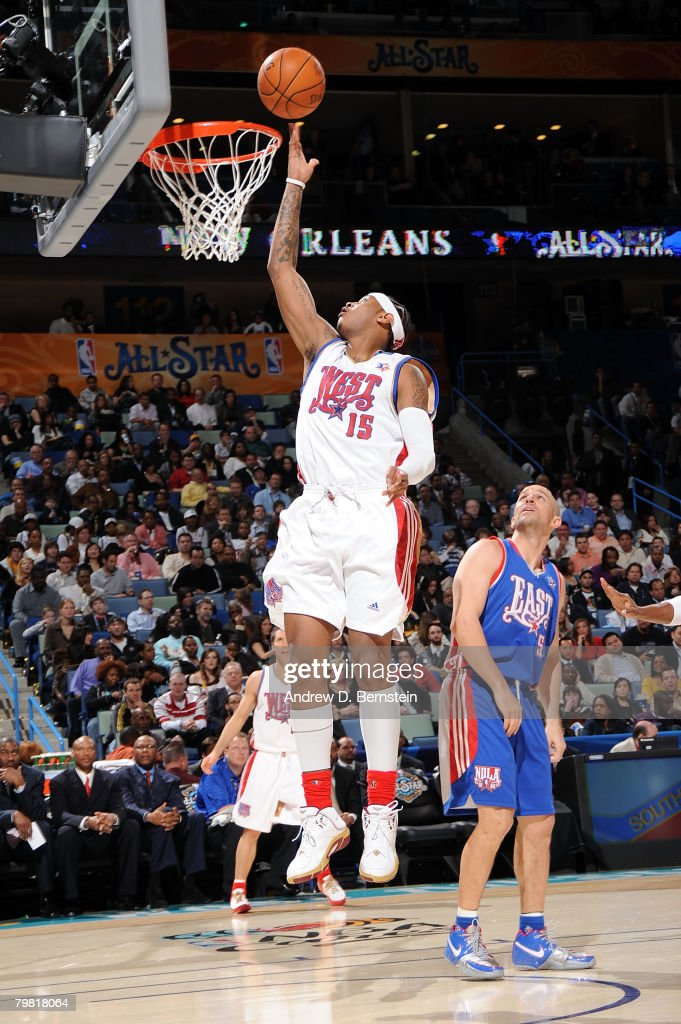 Carmelo Anthony #15 of the Western Conference shoots a layup as Jason Kidd #5 of the Eastern Conference looks on during the 2008 NBA All-Star Game part of 2008 NBA All-Star Weekend at the New Orleans Arena on February 17, 2008 in New Orleans, Louisiana.