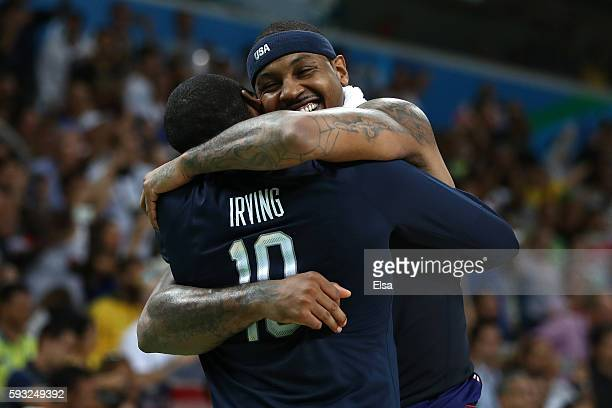 Carmelo Anthony of United States celebrates after defeating Serbia during the Men's Gold medal game on Day 16 of the Rio 2016 Olympic Games at...
