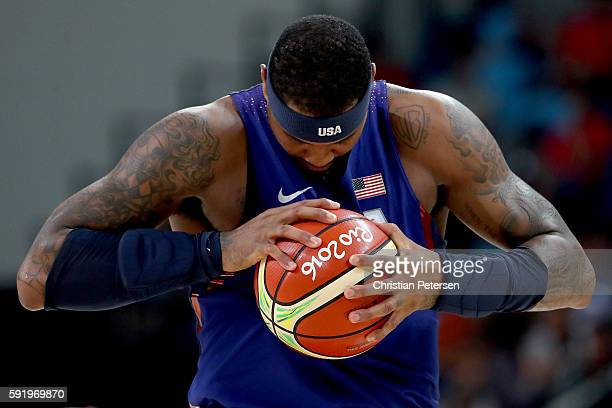 Carmelo Anthony of United States stands on the court prior to the Men's Semifinal match against Spain on Day 14 of the Rio 2016 Olympic Games at...