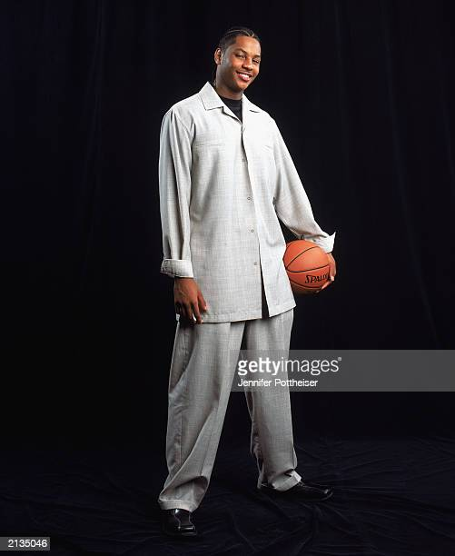 Carmelo Anthony poses for a portrait during NBA Draft Media Day at the Westin Times Square Hotel on June 25 2003 in New York City New York NOTE TO...