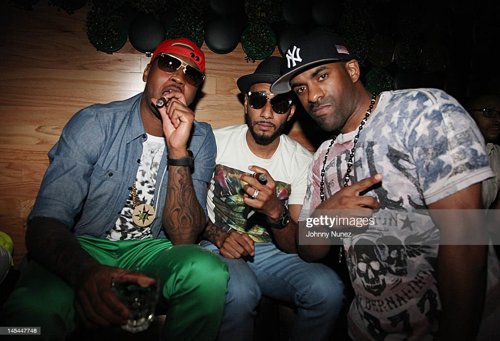 <a gi-track='captionPersonalityLinkClicked' href=/galleries/search?phrase=Carmelo+Anthony&family=editorial&specificpeople=201494 ng-click='$event.stopPropagation()'>Carmelo Anthony</a>, <a gi-track='captionPersonalityLinkClicked' href=/galleries/search?phrase=Swizz+Beatz&family=editorial&specificpeople=567154 ng-click='$event.stopPropagation()'>Swizz Beatz</a> and <a gi-track='captionPersonalityLinkClicked' href=/galleries/search?phrase=DJ+Clue&family=editorial&specificpeople=211351 ng-click='$event.stopPropagation()'>DJ Clue</a> attend Greenhouse Tuesdays at Greenhouse on May 29, 2012 in New York City.