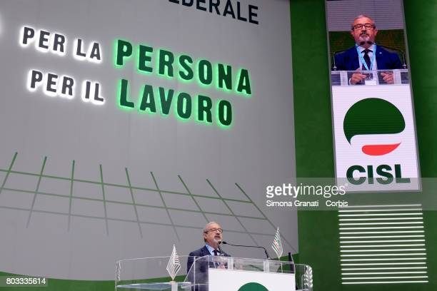Carmelo Barbagallo Secretary General of UIL Union during the XVIII Confederal Congress Of The CISL Trade Union on June 29 2017 in Rome Italy