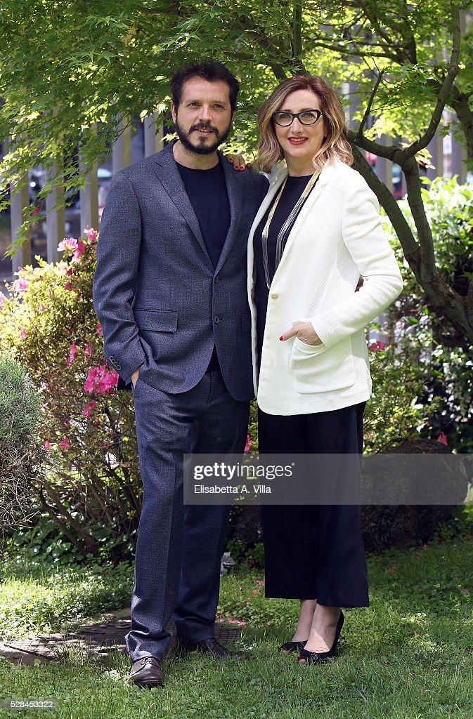Carmelo Galati and Lunetta Savino attend a photocall for 'Felicia Impastato' RAI TV movie at Viale Mazzini on May 5, 2016 in Rome, Italy.