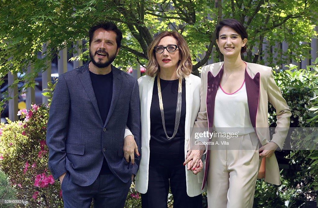 Carmelo Galati, Lunetta Savino and Linda Caridi attend a photocall for 'Felicia Impastato' RAI TV movie at Viale Mazzini on May 5, 2016 in Rome, Italy.