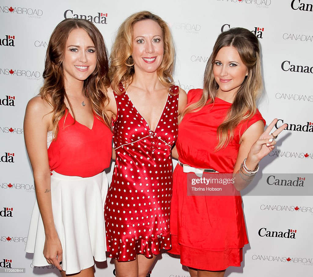 Carmen and Camille and Renee Percy attend the 2013 Canada Day in LA party at Wokano restaurant on June 30, 2013 in Santa Monica, California.
