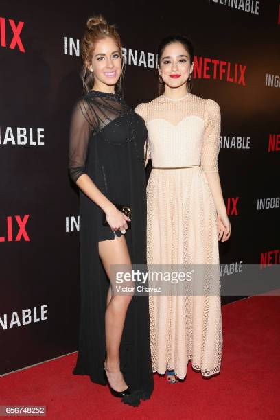 Carmen Aub and Viviana Serna attend the launch of Netflix's series 'Ingobernable' red carpet at Auditorio BlackBerry on March 22 2017 in Mexico City...