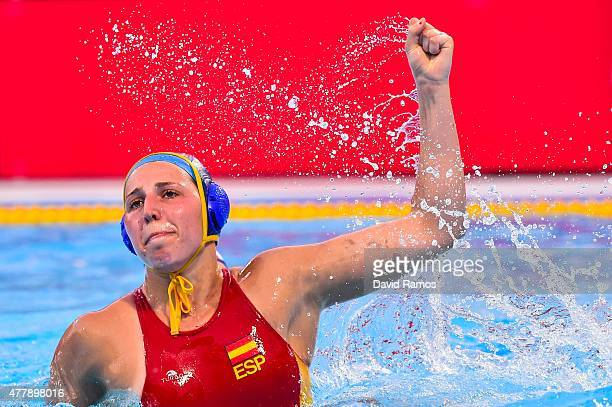Carmen Baringo of Spain celebrates after scoring a goal in the Women's Waterpolo Final during day eight of the Baku 2015 European Games at the Water...