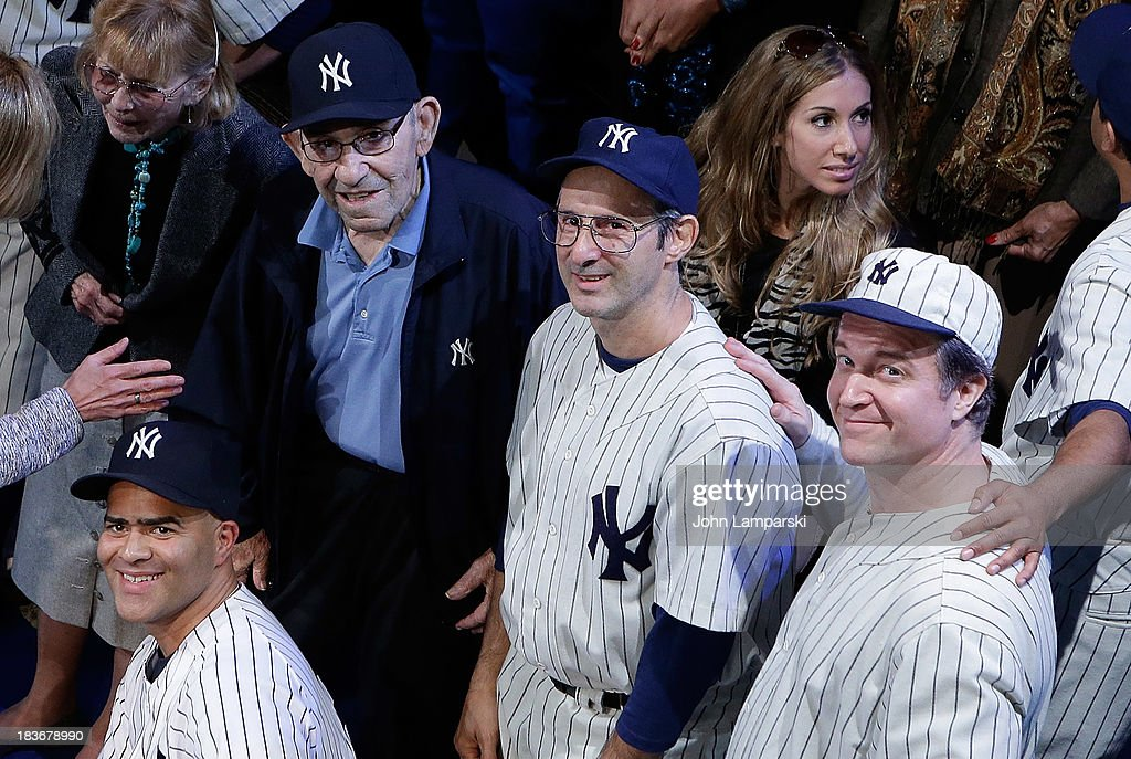 Carmen Berra, Former Yankees manager and player <a gi-track='captionPersonalityLinkClicked' href=/galleries/search?phrase=Yogi+Berra&family=editorial&specificpeople=94270 ng-click='$event.stopPropagation()'>Yogi Berra</a>, actors Richard Topol , C J Wilson and (F) Christopher Jackson attend at Primary Stages on October 8, 2013 in New York City.