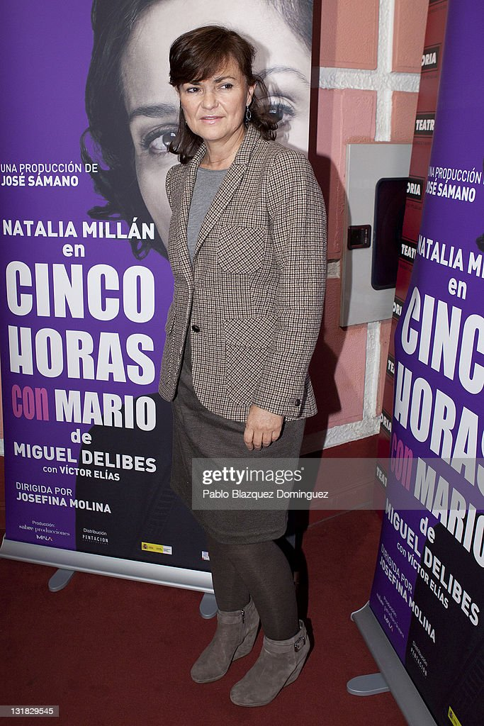 <a gi-track='captionPersonalityLinkClicked' href=/galleries/search?phrase=Carmen+Calvo&family=editorial&specificpeople=640845 ng-click='$event.stopPropagation()'>Carmen Calvo</a> attends 'Cinco Horas con Mario' Premiere at Reina Victoria Theatre on January 19, 2011 in Madrid, Spain.