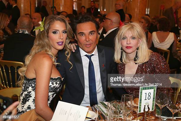 Carmen Carrera David LaChapelle and Courtney Love attend the AIDS Solidarity Gala 2014 at Hofburg Vienna on May 31 2014 in Vienna Austria