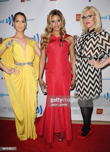 Carmen Carrera Laverne Cox and Our Lady J attend the 25th annual GLAAD Media Awards at The Beverly Hilton Hotel on April 12 2014 in Beverly Hills...